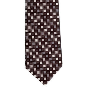 Black and Silver checkered woven tie